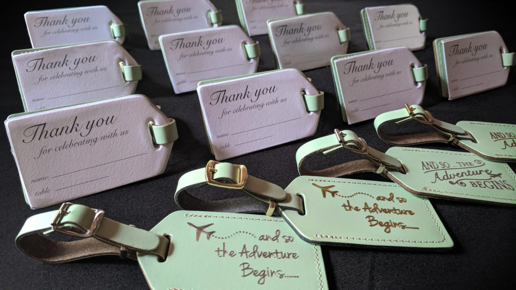 50 white wedding luggage tags with GOLD QUOTE $2.00 each